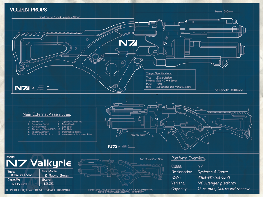Volpin Props N7 Valkyrie Blueprint Poster