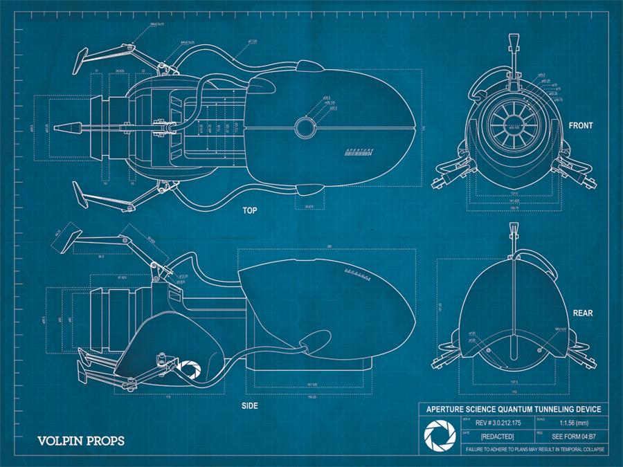 Volpin Props Portal Gun Blueprint Poster